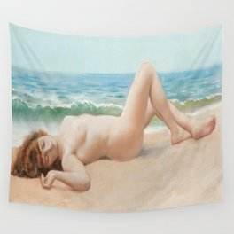 Nude On Beach : Nu Sur La Plage By John William Godward Wall Tapestry