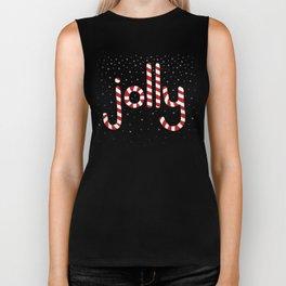 Jolly Christmas Word Art Biker Tank