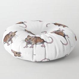 Cute Brown Field Mice, Mouse, Oil Pastel Art, Pattern Floor Pillow