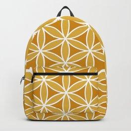 Flower of Life Large Ptn Oranges & White Backpack