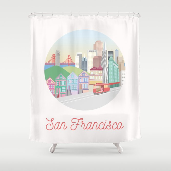 San Francisco City Art Shower Curtain By Uzualsunday