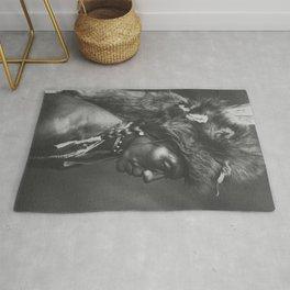 Native American Piegan Warrior, Yellow Kidney, portrait black and white photography Rug