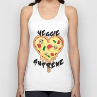 vegetarian Tank Tops featuring Veggie Supreme - Deluxe Vegetarian Heart Shaped Pizza  by MagicCircle