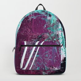 01012: a vibrant abstract piece in teal and ultraviolet Backpack