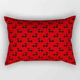 Black Cherries On Red Rectangular Pillow