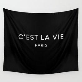 C'est La Vie Black French Fashion Quote Wall Tapestry