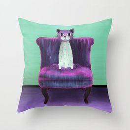 Elegant Cat turquoise Throw Pillow