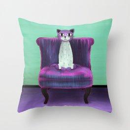 Elegant Cat turquoise Throw Pillow