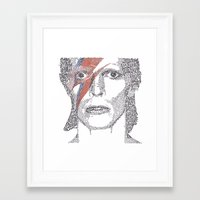bowie Framed Art Prints featuring Bowie by S. L. Fina