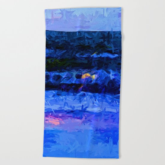 Wild Blue Sea under the Lavender Sky Beach Towel