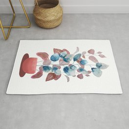 Colorful Watercolor Plant Rug