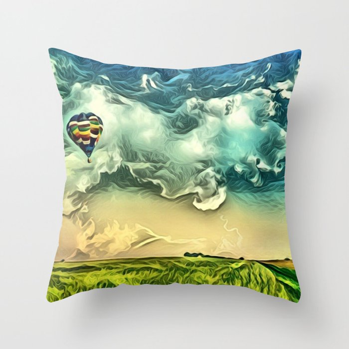 Air Balloon in the Sky with Clouds over the Landscape Throw Pillow