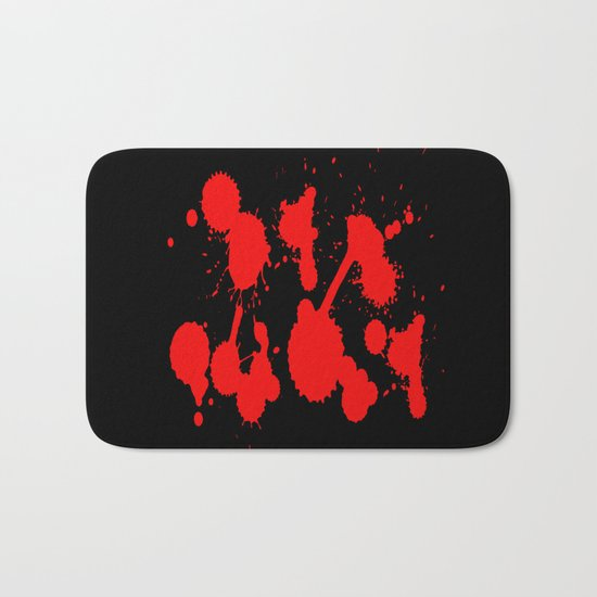 blood stains splatter on black Bath Mat