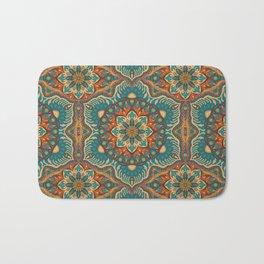 Colorful abstract ethnic floral mandala pattern design Bath Mat