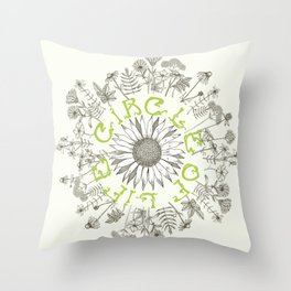 Circle Of Life Mandala With Hand Drawn Flowers Throw Pillow