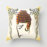 buddha Throw Pillows featuring Buddha by famenxt
