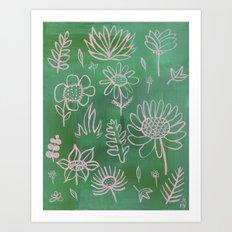 Pink Nature on Green Art Print