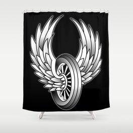 Winged Motorcycle Wheel Shower Curtain