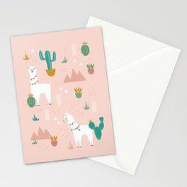Llamas + Cacti on Pink Stationery Cards