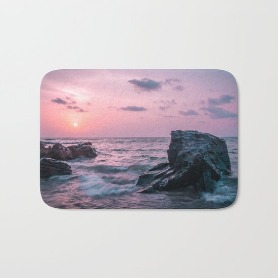 Ocean landscape at sunset Bath Mat