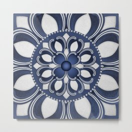Spanish Flower in Blue Metal Print