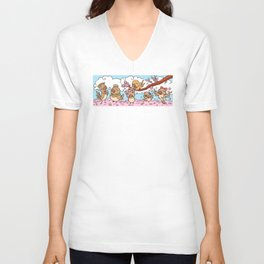 Finches birds with pink sakura flower Unisex V-Neck
