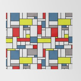 Mondrian style pattern Throw Blanket