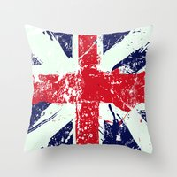 union jack Throw Pillows featuring Union Jack  by UrbanCandy