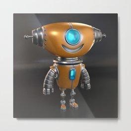 Cute little robot character design Metal Print