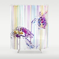 turtles Shower Curtains featuring Turtles by Lexi Hannah
