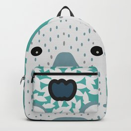 White bear in mint floral rain Backpack