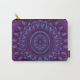 Bohemian Mandala in Plum with Turquoise Carry-All Pouch