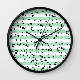 Pastel Goth - Mint Stripes and Black Splatter Wall Clock