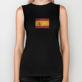 Old and Worn Distressed Vintage Flag of Spain Biker Tank