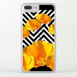 BLACK & WHITE CALIFORNIA YELLOW POPPIES ART Clear iPhone Case