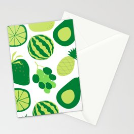 white and green fruit mix Stationery Cards