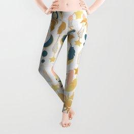 Bohemian spirit IV // white background salmon pink & gold feathers Leggings