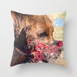 Hungry Alaskan Grizzly Bear - Eating Raw Meat Throw Pillow