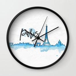 Paris Watercolor Wall Clock