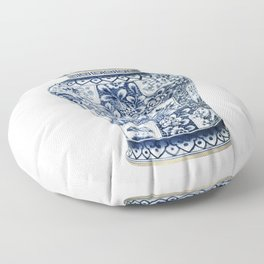 Blue & White Chinoiserie Cranes Porcelain Ginger Jar Floor Pillow