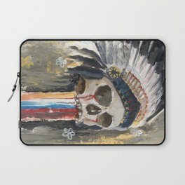 Skull in a Warbonnet Laptop Sleeve