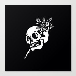 Tattoos style skull and flower Canvas Print