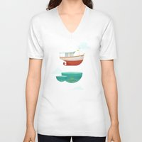 boat V-neck T-shirts featuring Floating Boat by ErDavid