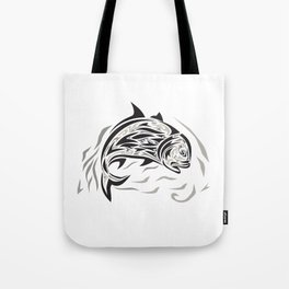 Giant Trevally Jumping Down Tribal Art Tote Bag