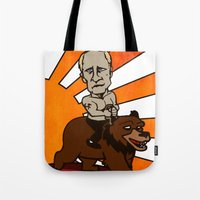 putin Tote Bags featuring putin on a beard by huggymauve