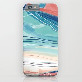 Sea Cliffs Abstract in classic blue aqua menthe and rose iPhone Case