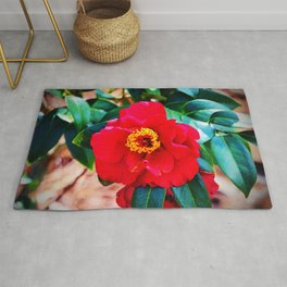 Rich Red Camellia Rug