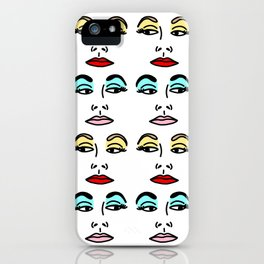 Glam Face Retro Pattern iPhone Case