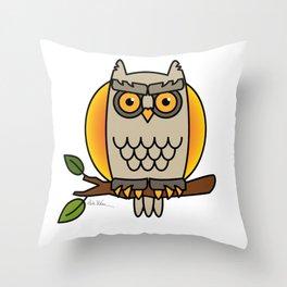 Owl in a Circle Throw Pillow