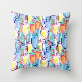 Busy budgies Throw Pillow